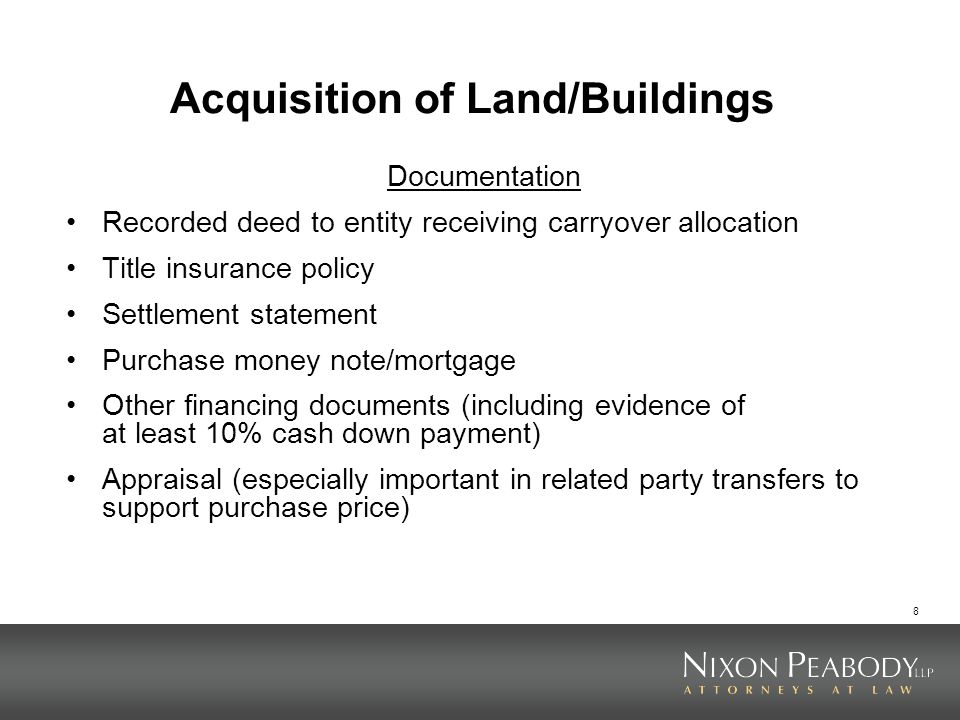 Acquisition of Land/Buildings