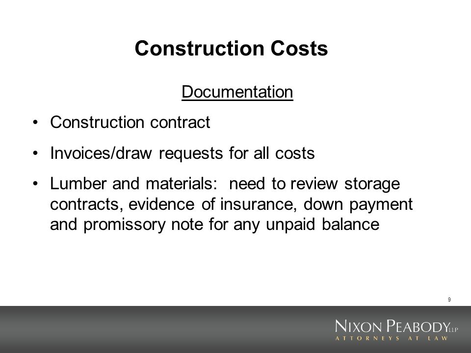 Construction Costs Documentation Construction contract