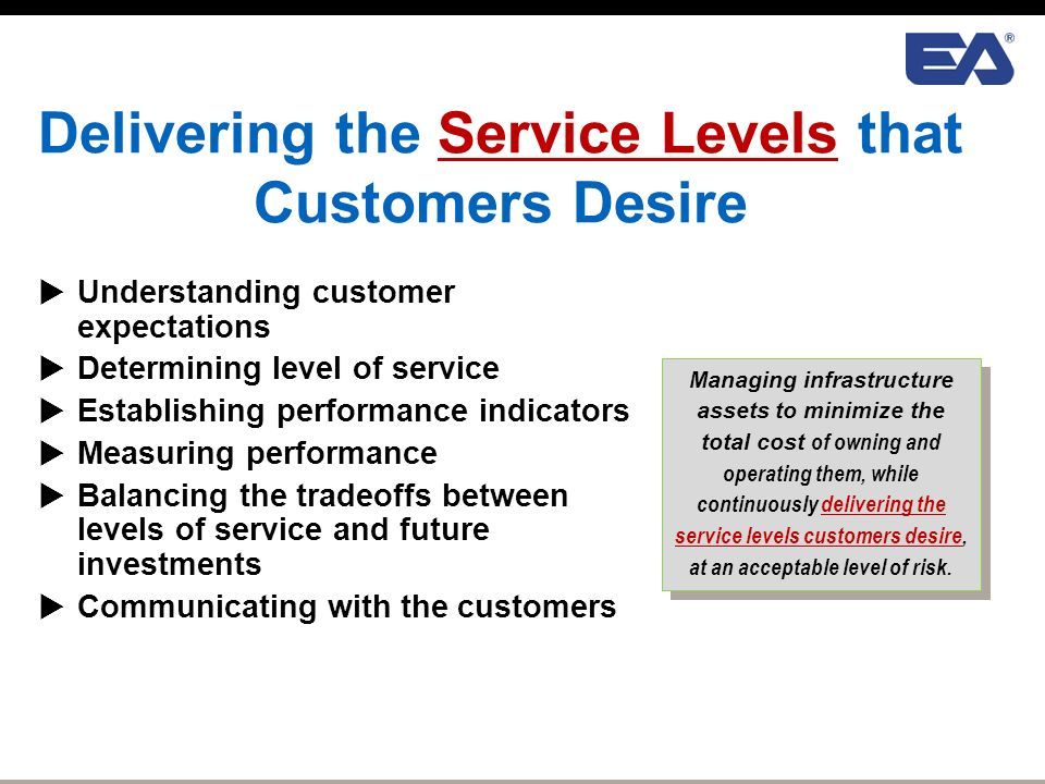 four levels of customer service Chapter 4 – service levels  to provide a starting point and outline the process for establishing service levels relating to general customer service requirements that will complement the current service levels  a review of gwa's situation identified four service levels that are required to satisfy regulatory.