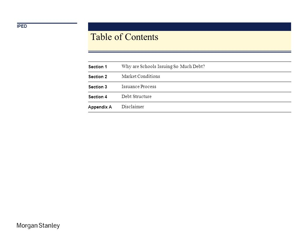 Table of Contents Why are Schools Issuing So Much Debt