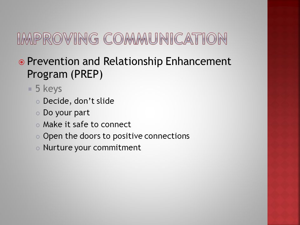 preparation and relationship enhancement program