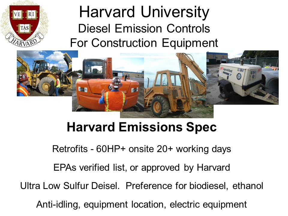 Harvard University Diesel Emission Controls For Construction Equipment