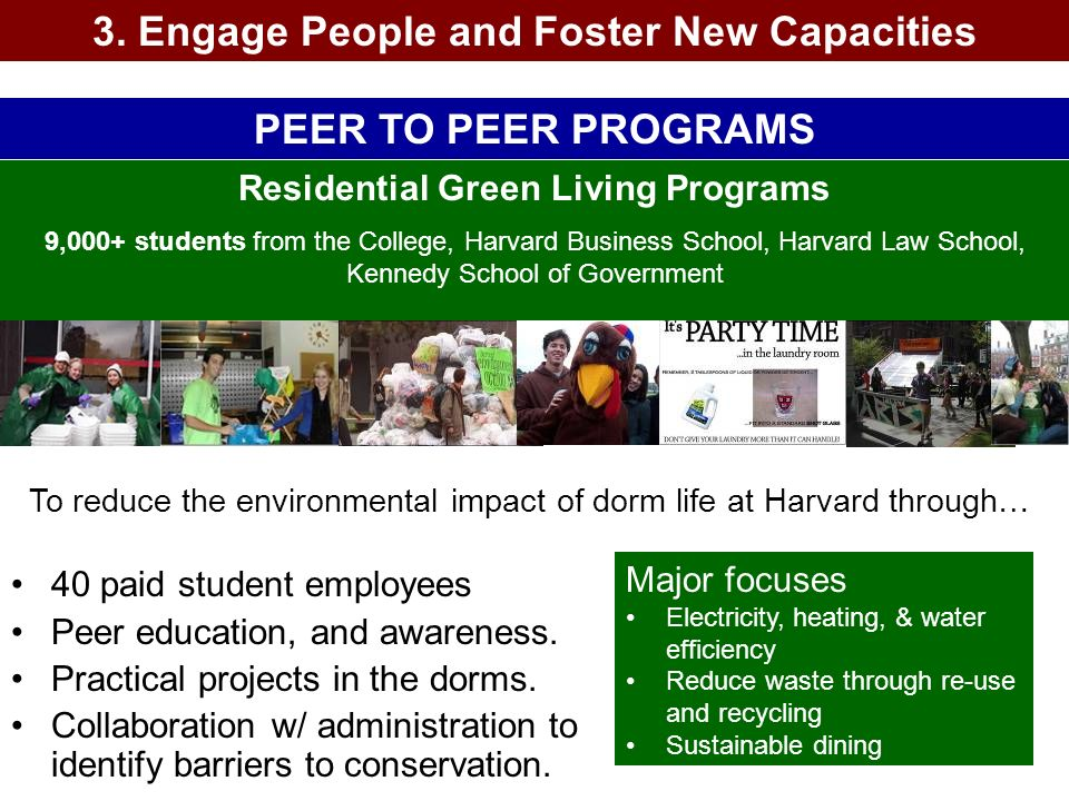 3. Engage People and Foster New Capacities PEER TO PEER PROGRAMS