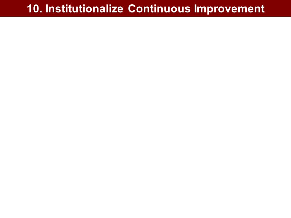 10. Institutionalize Continuous Improvement