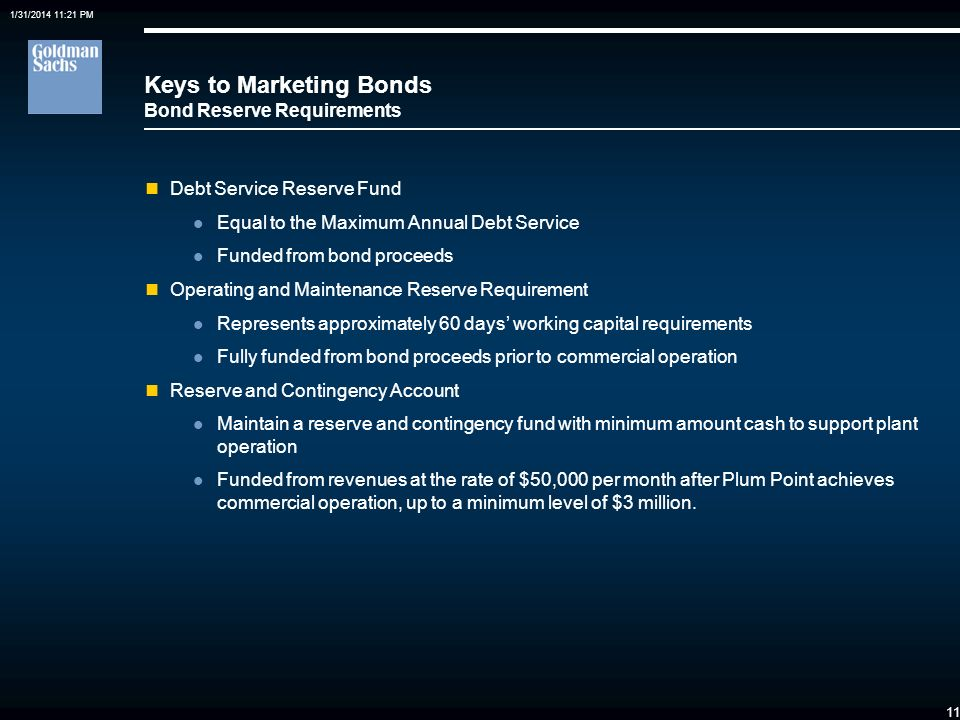 Keys to Marketing Bonds Bond Reserve Requirements