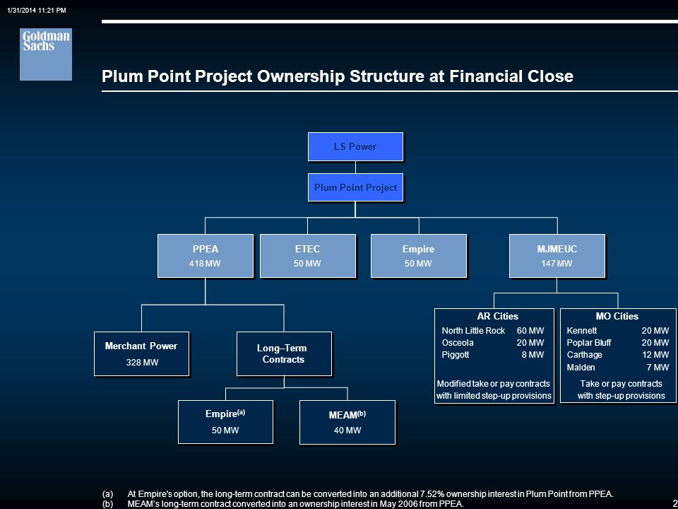 Plum Point Project Ownership Structure at Financial Close