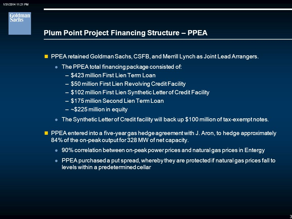 Plum Point Project Financing Structure – PPEA