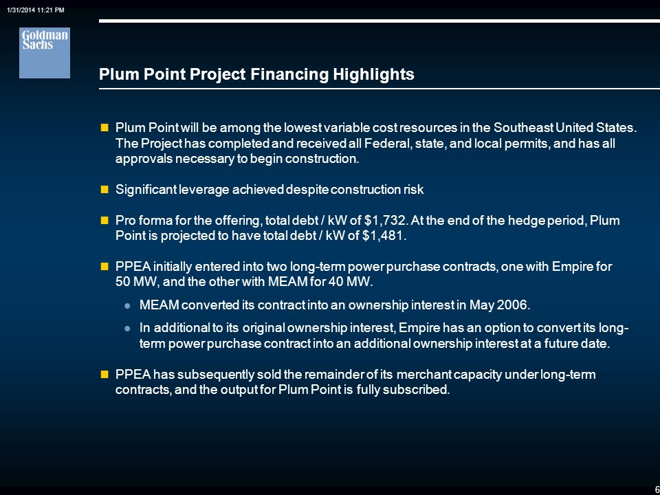 Plum Point Project Financing Highlights