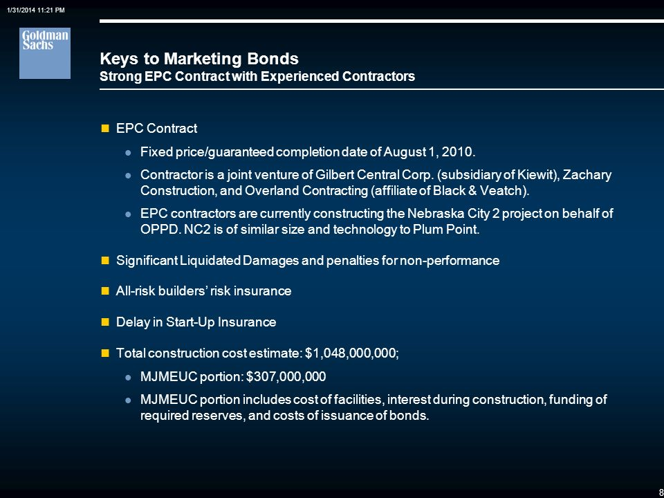 Keys to Marketing Bonds Strong EPC Contract with Experienced Contractors