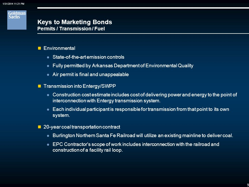 Keys to Marketing Bonds Permits / Transmission / Fuel