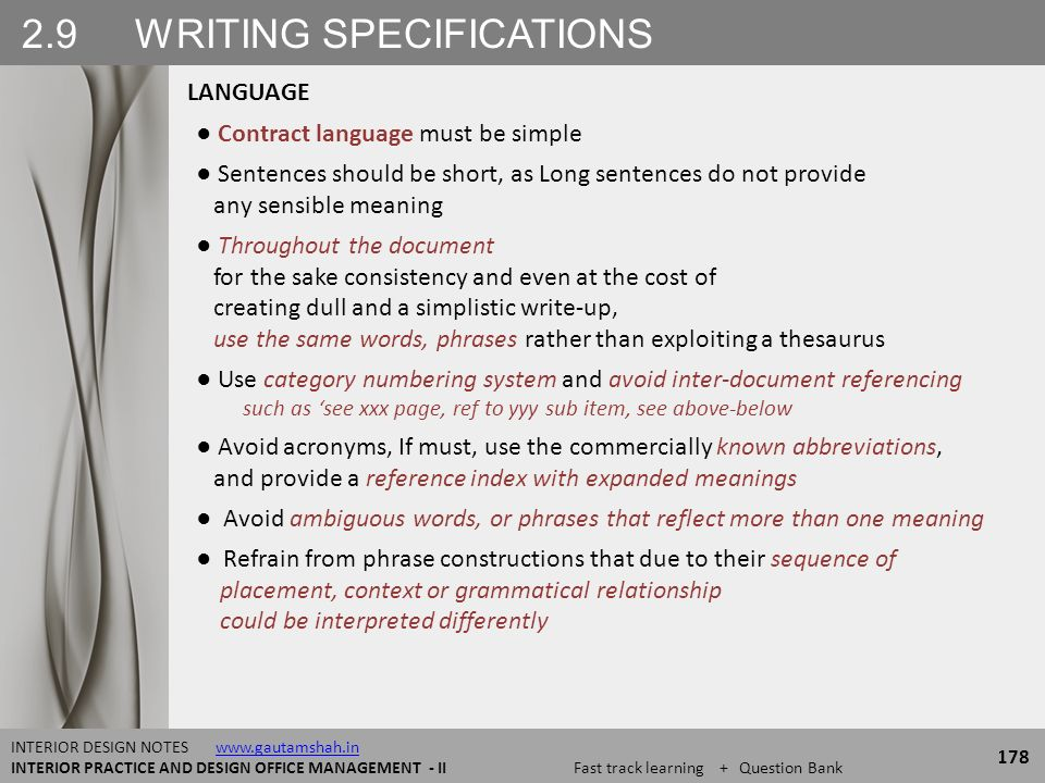 26 CATEGORIES OF SPECIFICATIONS