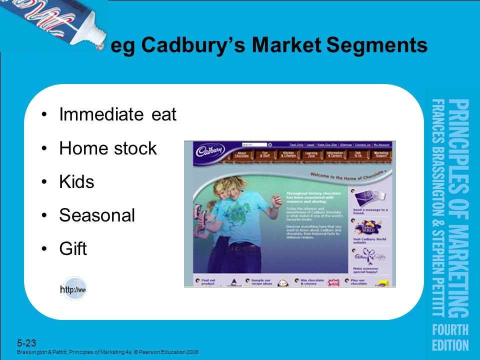 cadbury market segments Start studying int'l mktg - chapter 7 learn vocabulary, terms, and more with cadbury-schweppes was confident about launching schweepes this would be an example of which of the following reasons why international marketers implement international market segmentation positioning.
