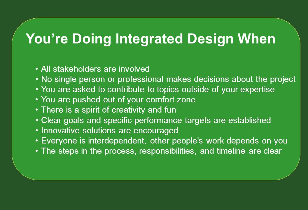 You're Doing Integrated Design When