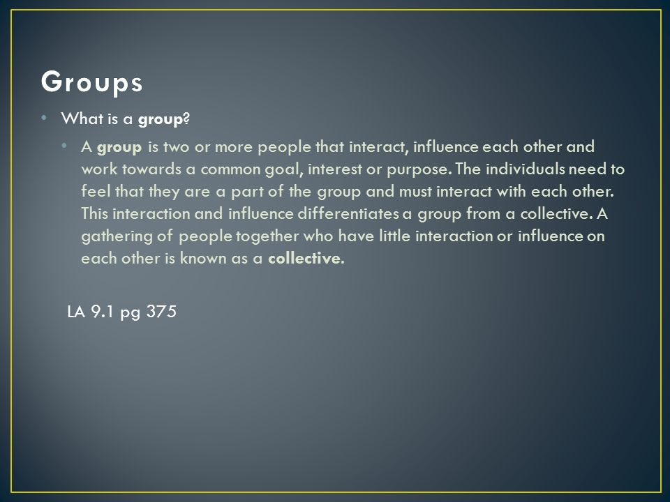 describe how groups can influence people Group influences humans are inherently social animals, and individuals greatly influence each other a useful framework of analysis of group influence on the individual is the so called reference group—the term comes about because an individual uses a relevant group as a standard of reference against which oneself is comparedreference groups come in several different forms.