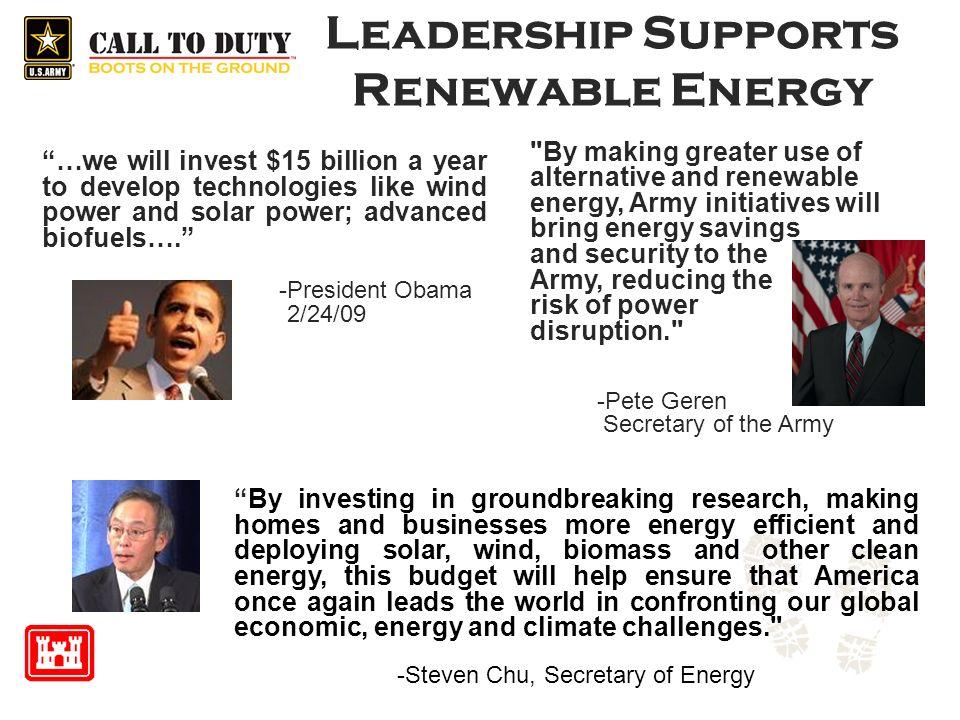 Leadership Supports Renewable Energy