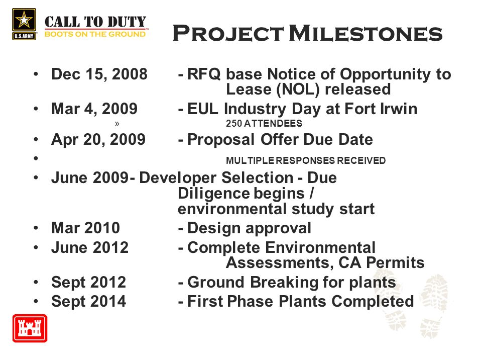 Project Milestones Dec 15, RFQ base Notice of Opportunity to Lease (NOL) released. Mar 4, EUL Industry Day at Fort Irwin.