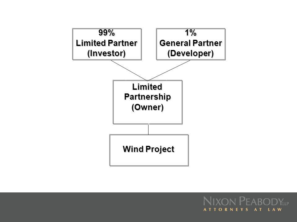 99% Limited Partner. (Investor) 1% General Partner.