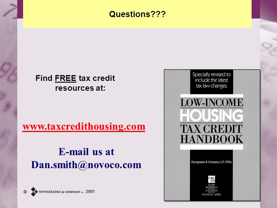 Find FREE tax credit resources at: