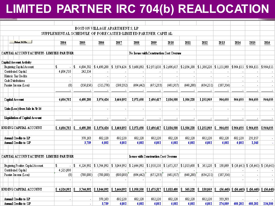 LIMITED PARTNER IRC 704(b) REALLOCATION