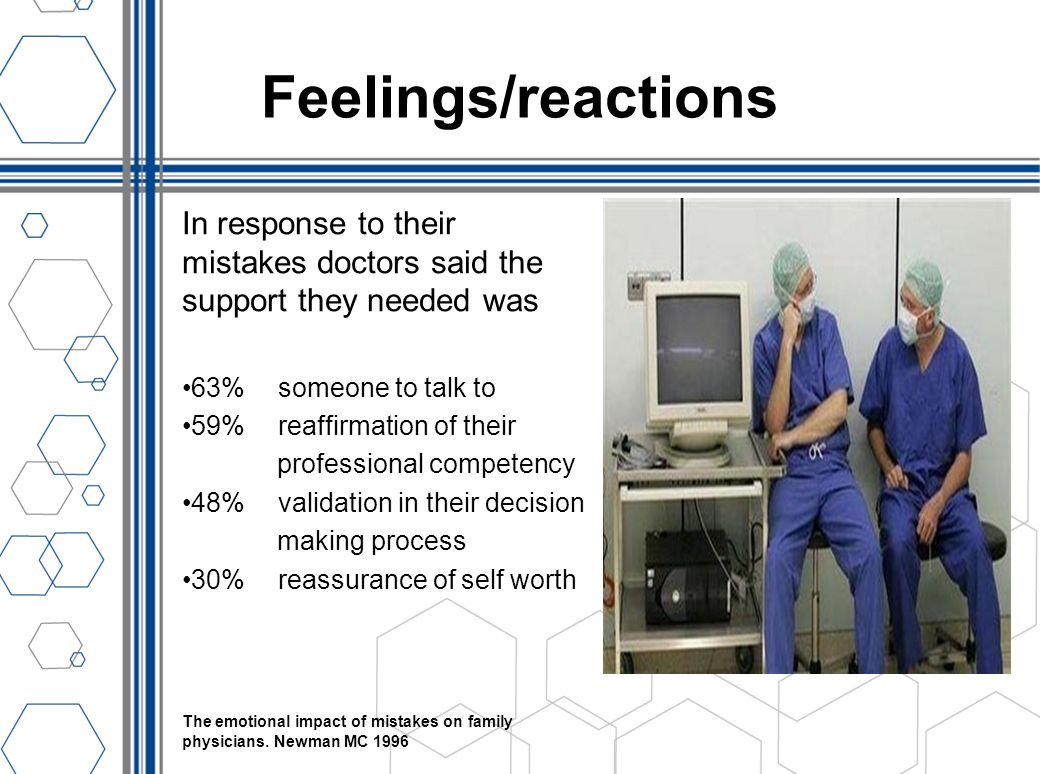 Feelings/reactions In response to their mistakes doctors said the support they needed was. 63% someone to talk to.