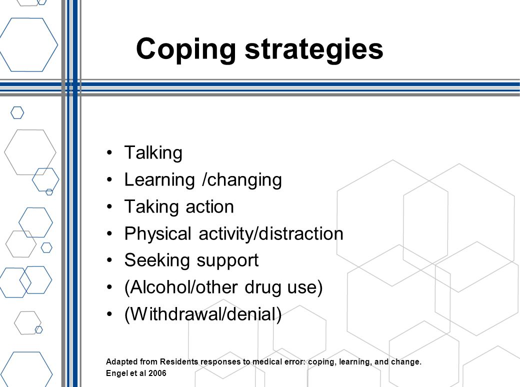 Coping strategies Talking Learning /changing Taking action