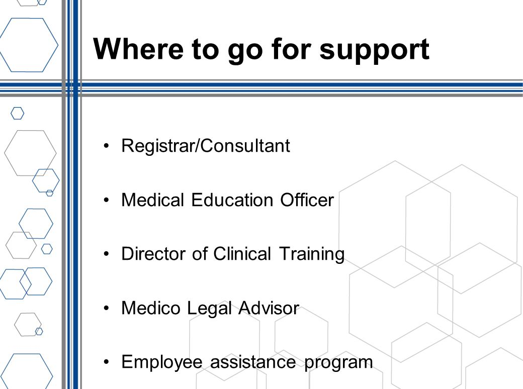 Where to go for support Registrar/Consultant Medical Education Officer