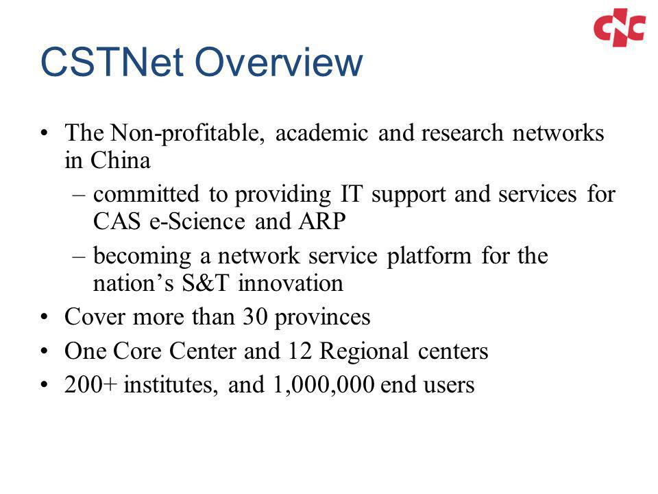 CSTNet Overview The Non-profitable, academic and research networks in China.