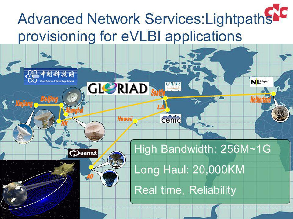 Advanced Network Services:Lightpaths provisioning for eVLBI applications
