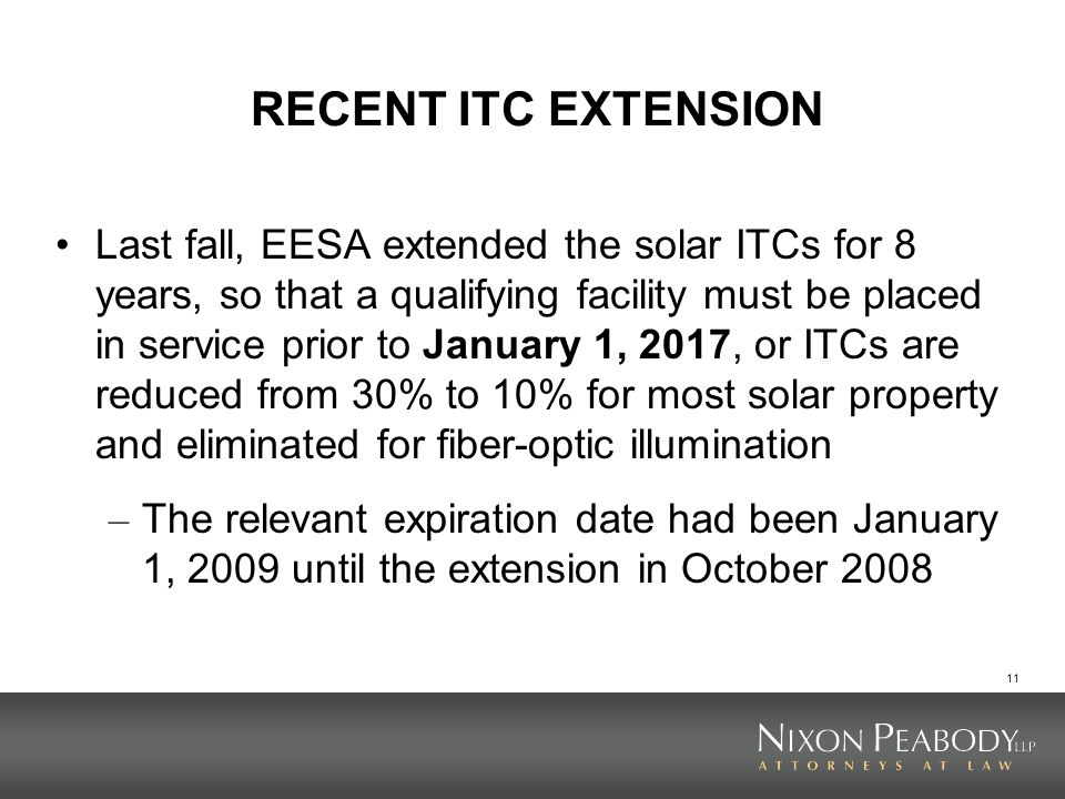 RECENT ITC EXTENSION