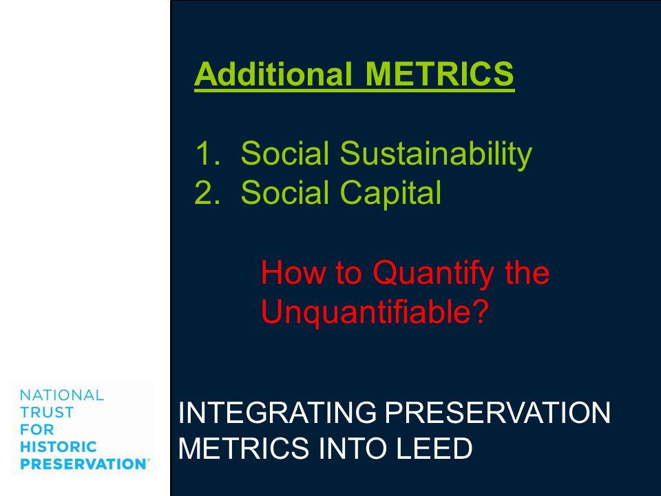 1. Social Sustainability Social Capital