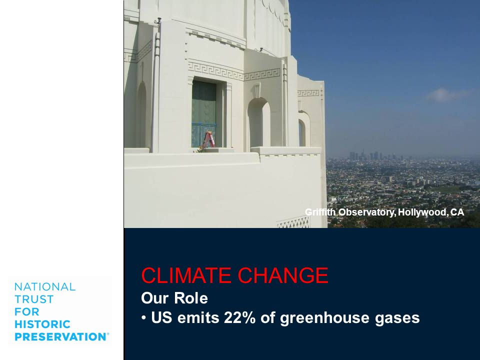 CLIMATE CHANGE Our Role US emits 22% of greenhouse gases