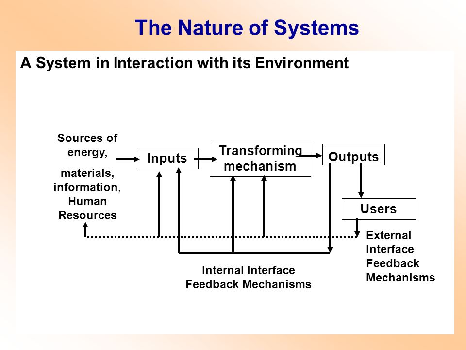 The Nature of Systems A System in Interaction with its Environment