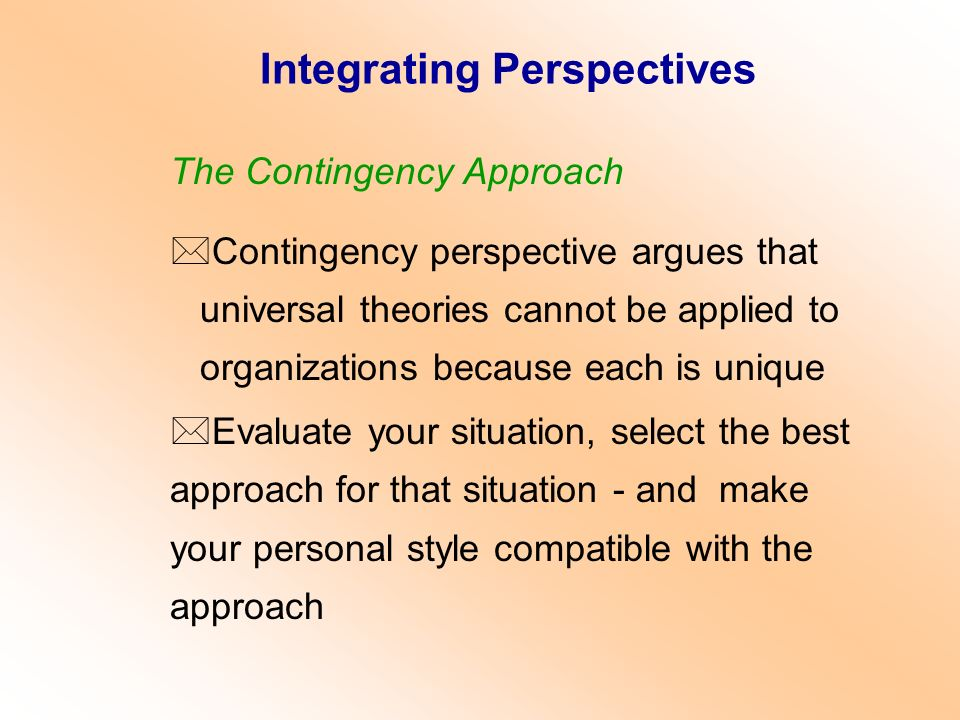 Integrating Perspectives
