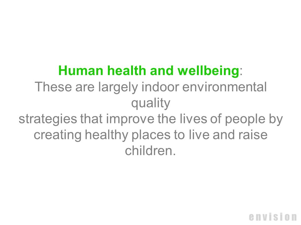 Human health and wellbeing: