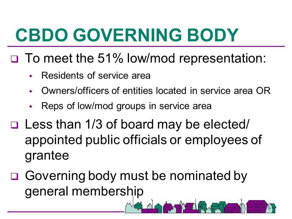 CBDO GOVERNING BODY To meet the 51% low/mod representation: