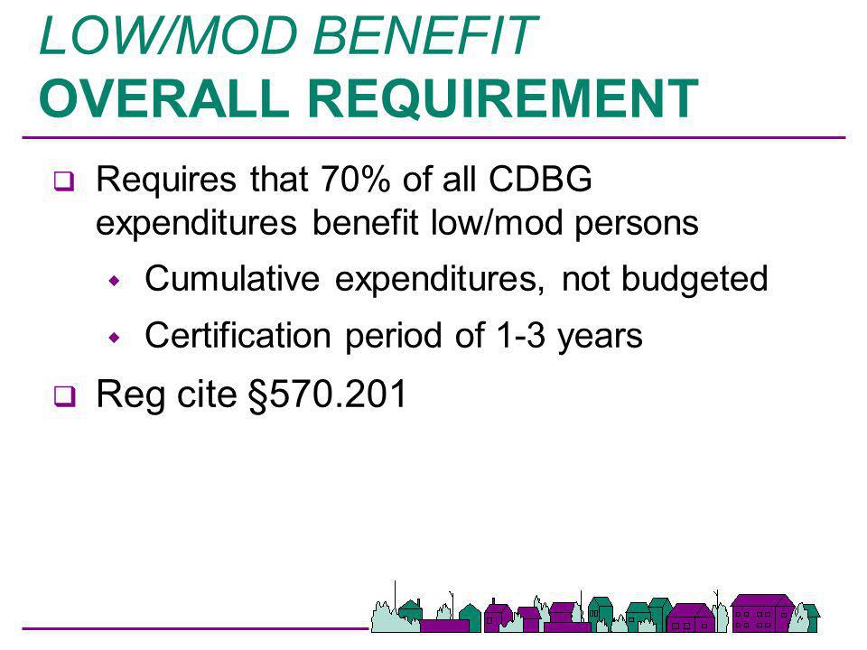 LOW/MOD BENEFIT OVERALL REQUIREMENT