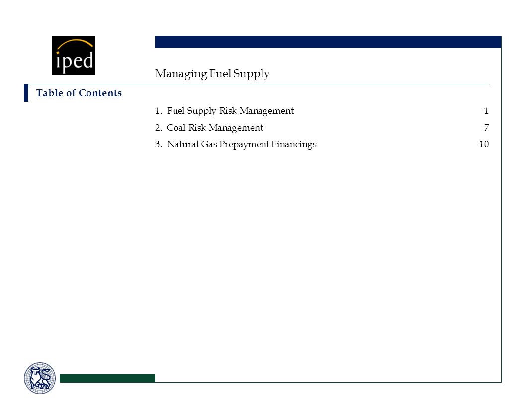 Managing Fuel Supply Table of Contents