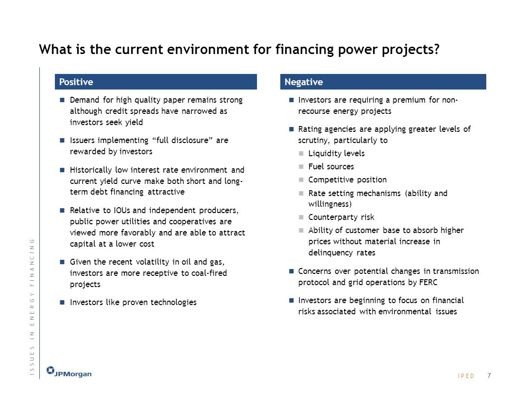 What is the current environment for financing power projects