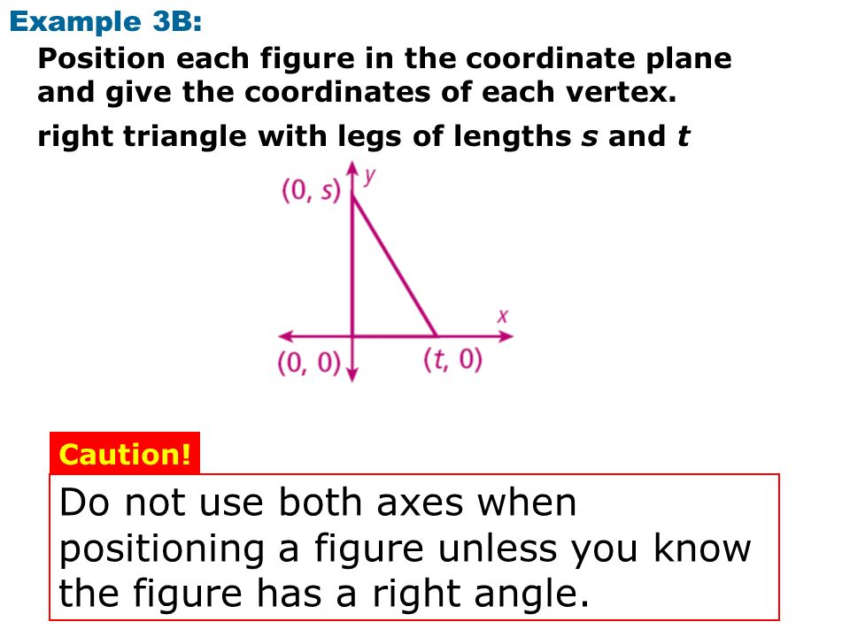 Example 3B: Position each figure in the coordinate plane and give the coordinates of each vertex. right triangle with legs of lengths s and t.