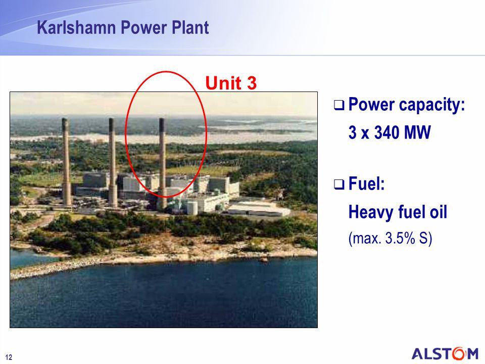 Karlshamn Power Plant Unit 3 Power capacity: 3 x 340 MW Fuel: Heavy fuel oil (max. 3.5% S)