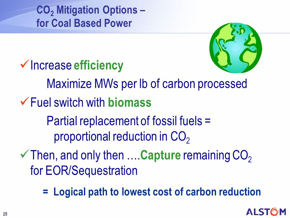 Maximize MWs per lb of carbon processed Fuel switch with biomass