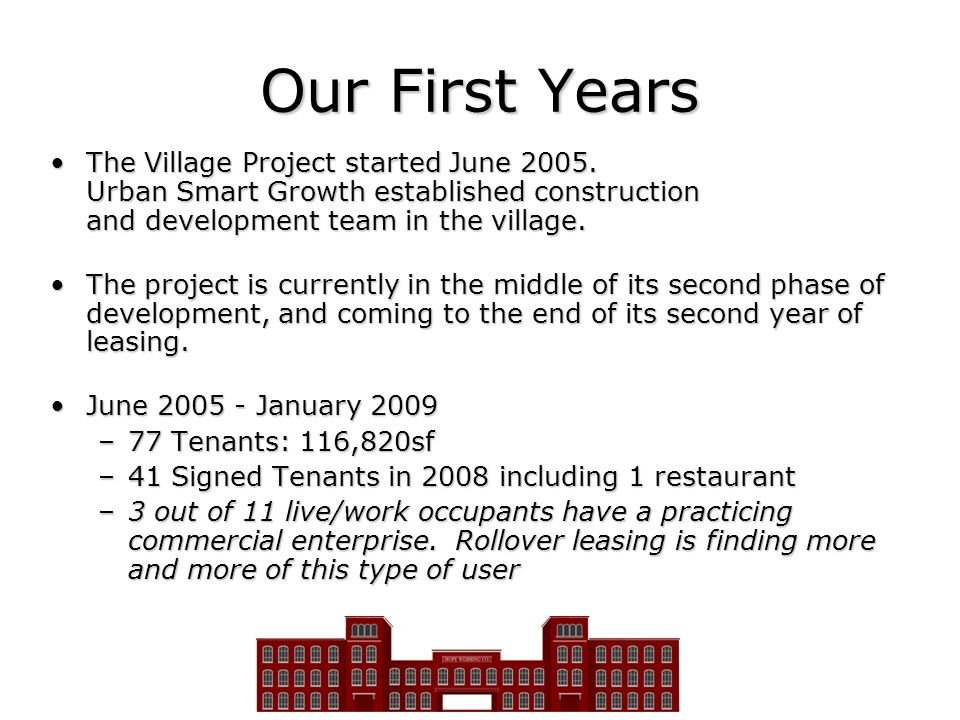 Our First Years The Village Project started June Urban Smart Growth established construction and development team in the village.