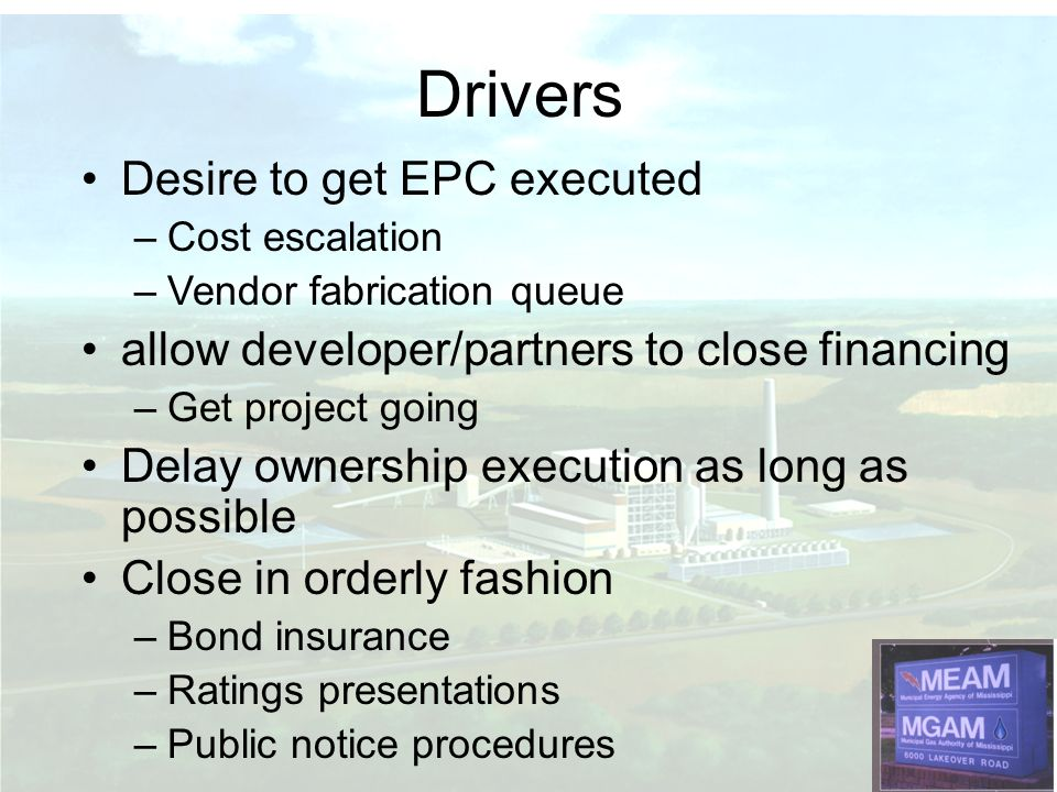 Drivers Desire to get EPC executed
