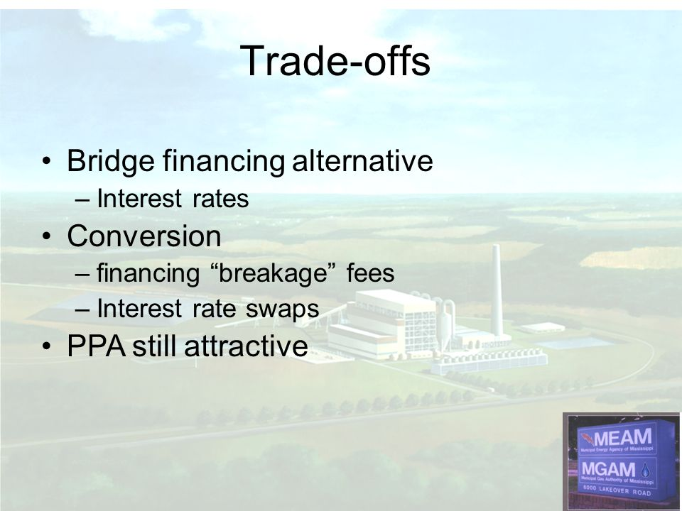 Trade-offs Bridge financing alternative Conversion