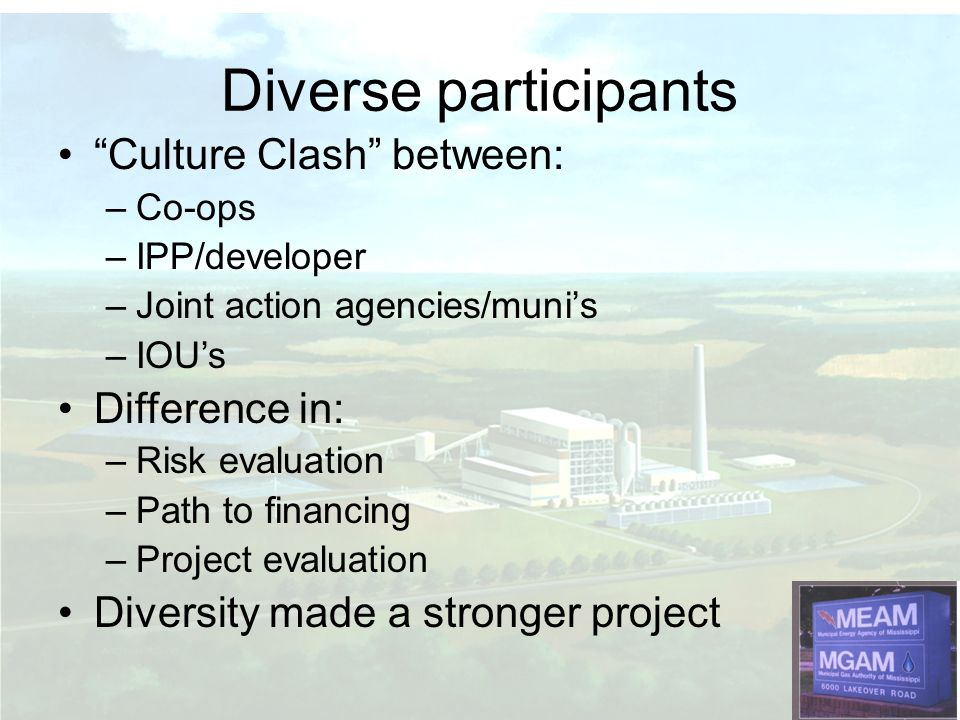 Diverse participants Culture Clash between: Difference in: