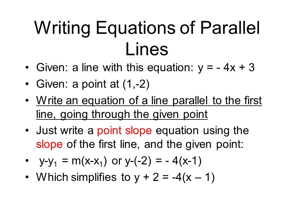 Write an equation perpendicular to the given line through the given point