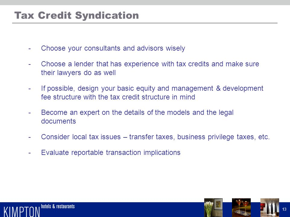 Tax Credit Syndication