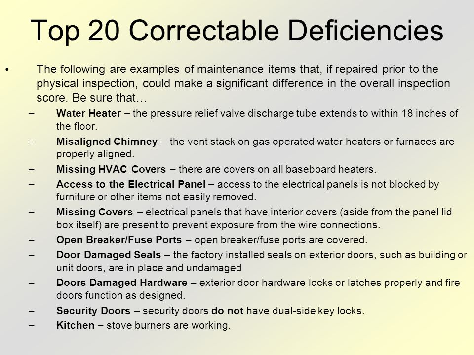 Top 20 Correctable Deficiencies