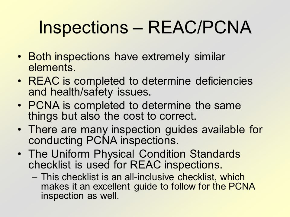 Inspections – REAC/PCNA