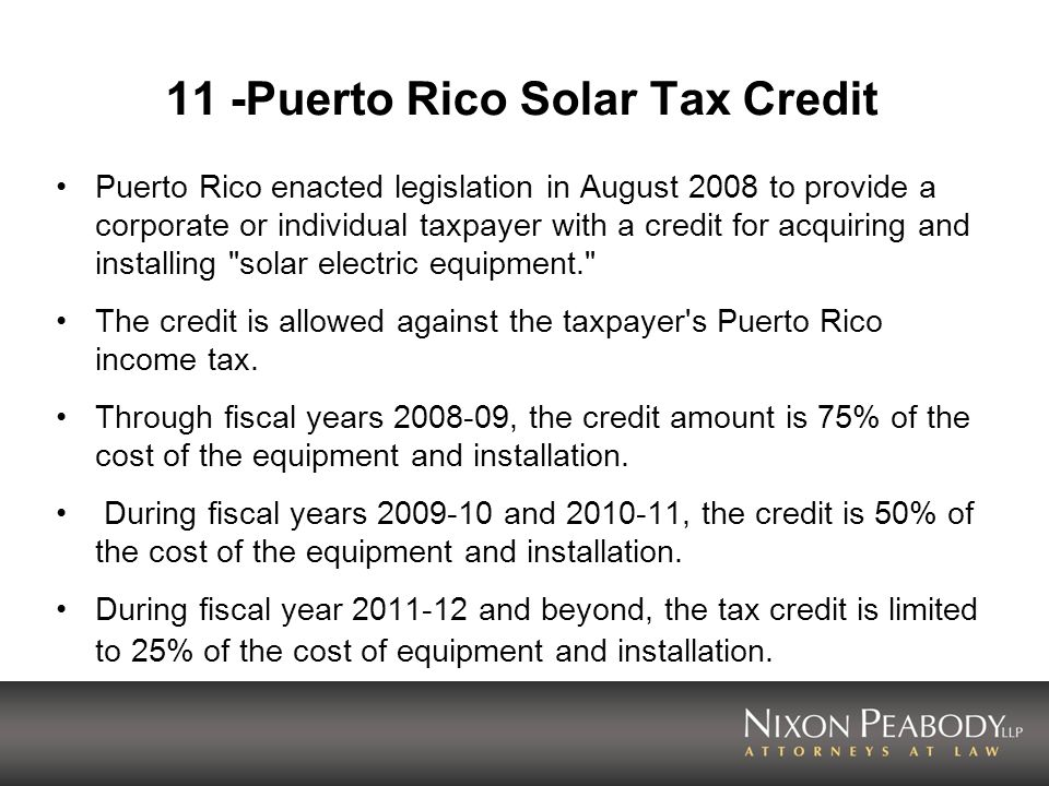 11 -Puerto Rico Solar Tax Credit